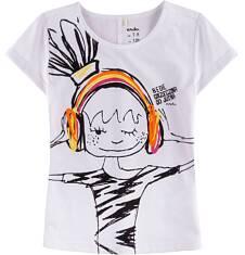 Bluzka z krótkim podwiniętym rękawem dla dziewczynki 9-13 lat D71G547_1