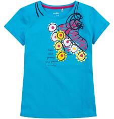 Bluzka z krótkim podwiniętym rękawem dla dziewczynki 9-13 lat D71G623_2