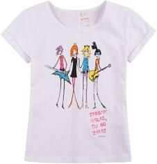 Bluzka z krótkim podwiniętym rękawem dla dziewczynki 9-13 lat D71G545_1
