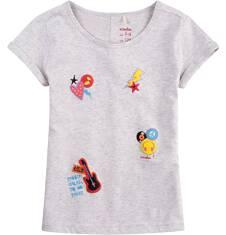Bluzka z krótkim podwiniętym rękawem dla dziewczynki 9-13 lat D71G543_1
