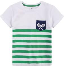 T-shirt z podwiniętym rękawem dla chłopca 9-13 lat C71G593_1