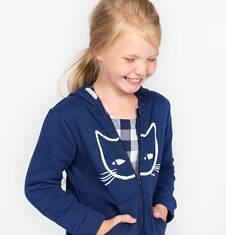 Rozpinana gruba bluza z kapturem dla dziewczynki 9-13 lat D72C506_1