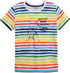 T-shirt z kontrastowym wykończeniem dla chłopca 9-13 lat C71G542_1
