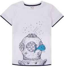 T-shirt z kontrastowym wykończeniem dla chłopca 9-13 lat C71G645_1