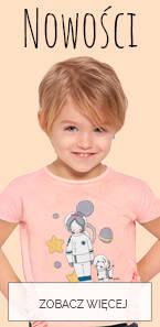 Baner z nowościami dla małej dziewczynki.
