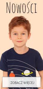 Baner z nowościami dla małego chłopca.