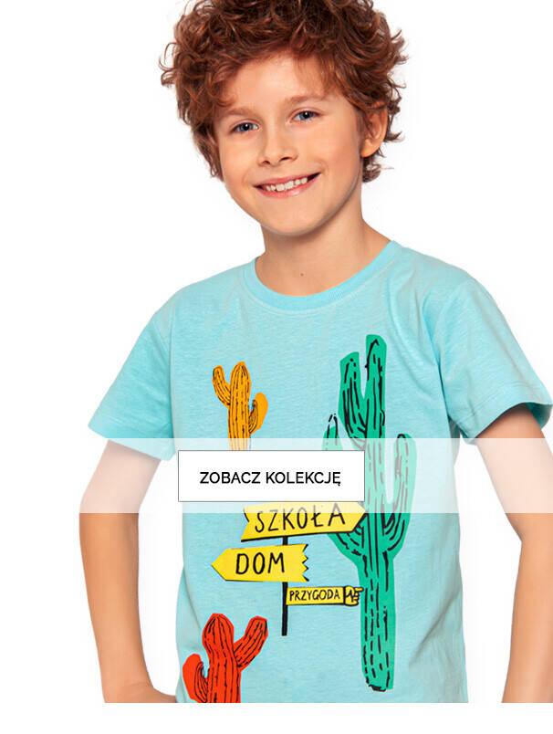 błękitny T-shirt z krótkim rękawem dla chłopca