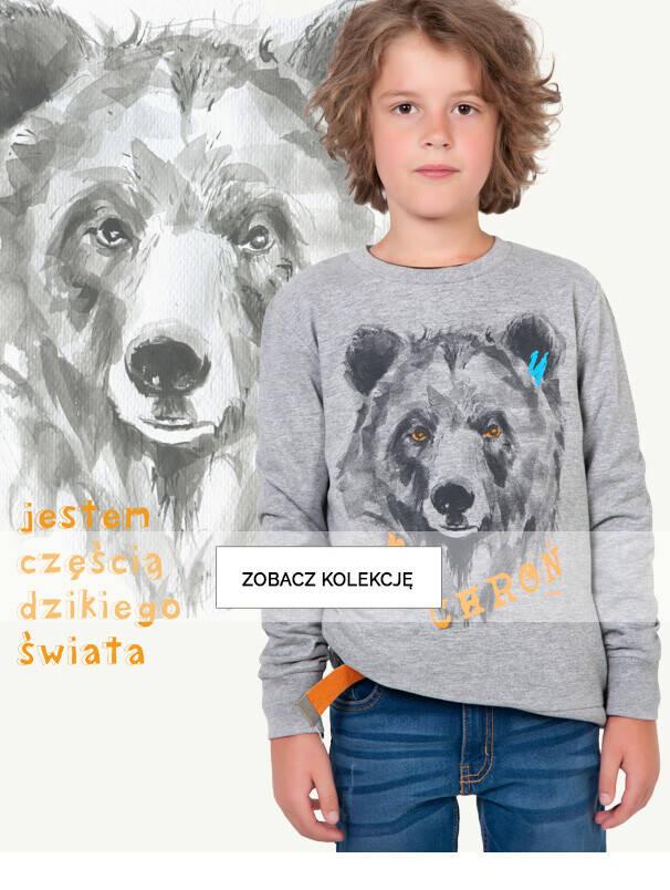 Baner z chłopcem na tle rysunku niedźwiedzia.