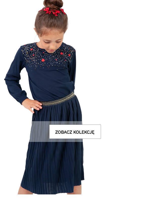 Baner z dziewczynką w granatowej spódnicy.