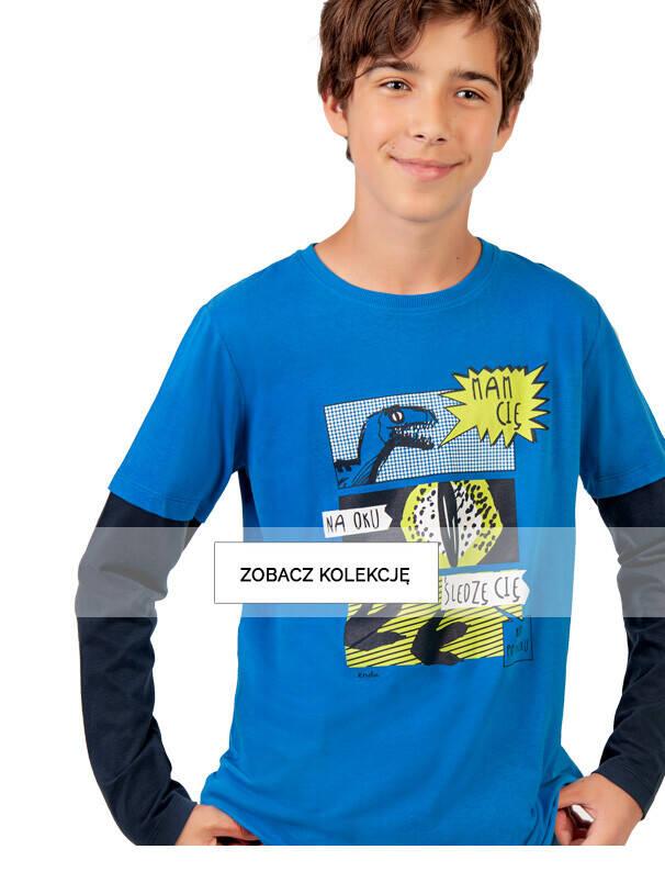 Baner z chłopcem w niebieskiej koszulce z dinozaurami.