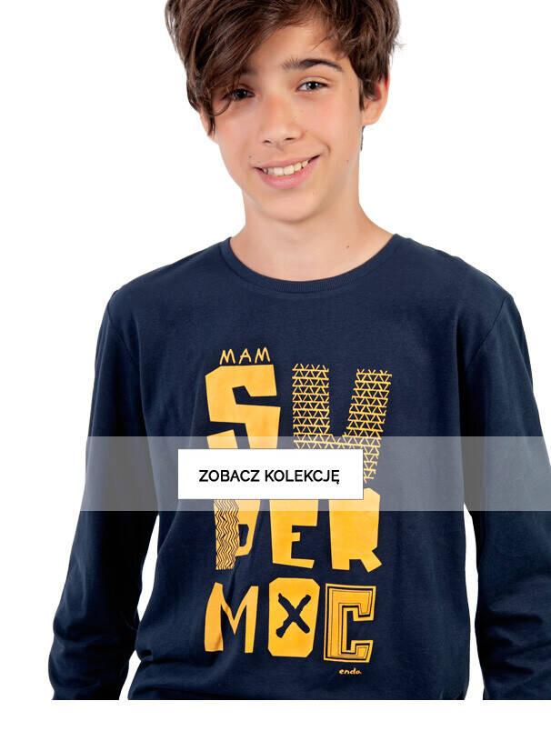 Baner z chłopcem w granatowej koszulce.