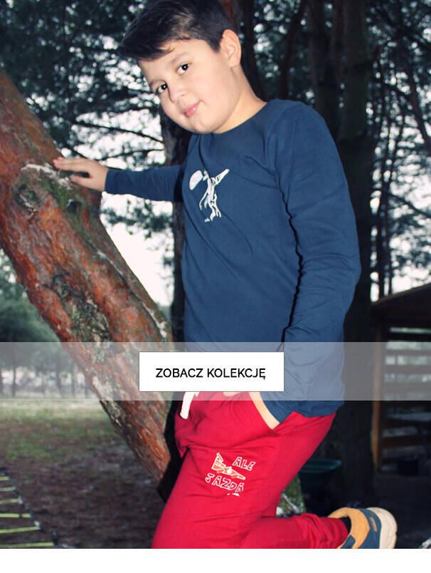 Chłopiec w granatowym T-shircie.