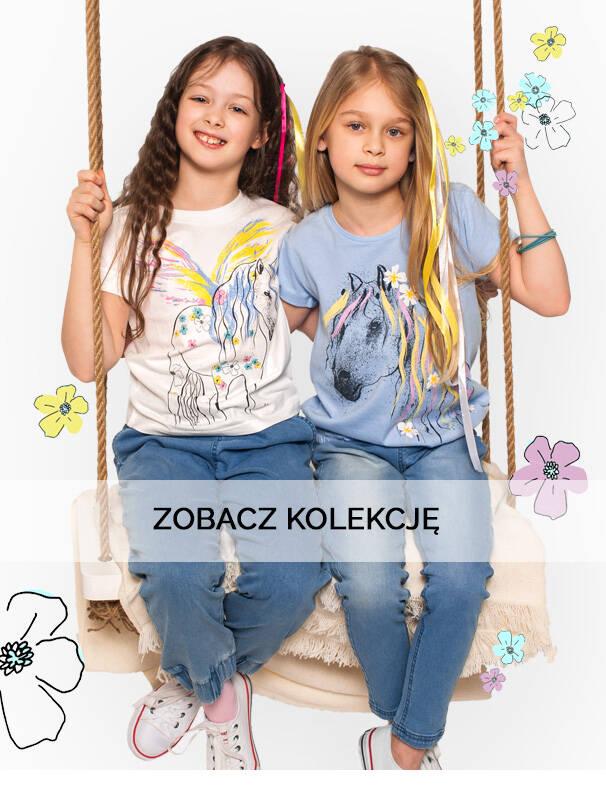 Baner z dziewczynkami w jasnych, wiosennych jeansach.