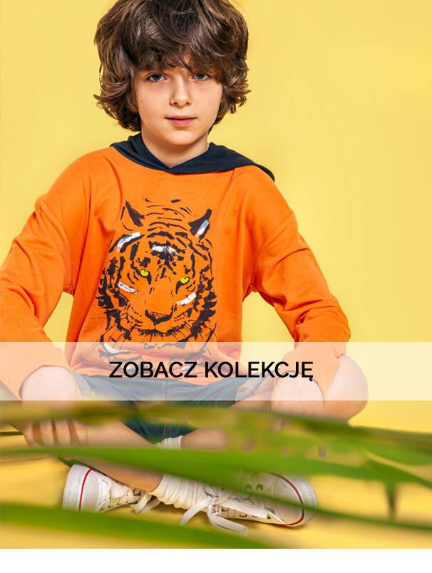 Baner z chłopcem w pomarańczowej bluzie z kapturem.
