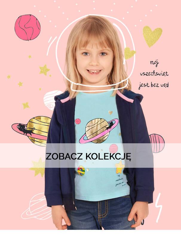Baner z dziewczynką w rozpinanej bluzie.