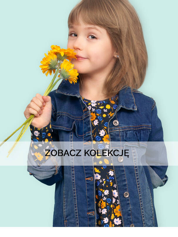 Baner z dziewczynką w wiosennej kurtce