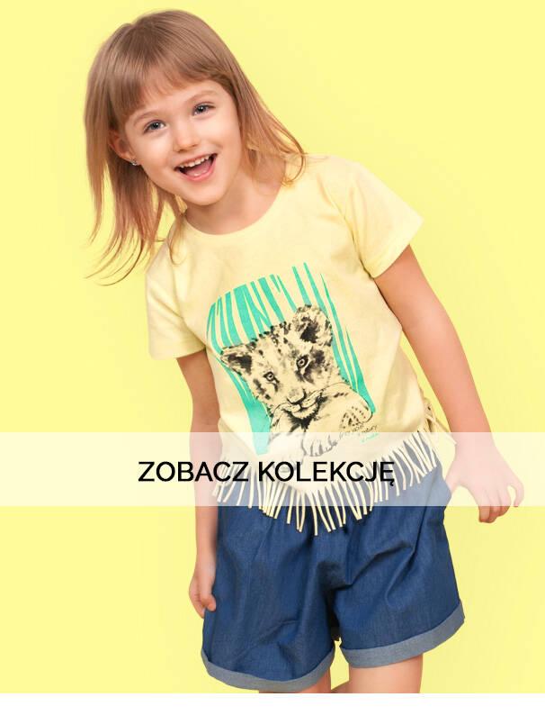 Baner z dziewczynką w koszulce ze zwierzątkami