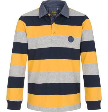 Endo - T-shirt polo z długim rękawem dla chłopca, w paski, 9-13 lat C92G505_3