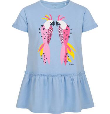 Endo - Tunika z krótkim rękawem dla dziewczynki, z kolorowymi papugami, niebieska, 2-8 lat D05T014_2 27
