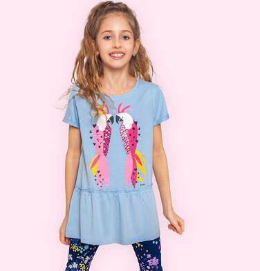 Endo - Tunika z krótkim rękawem dla dziewczynki, z kolorowymi papugami, niebieska, 2-8 lat D05T014_2 2