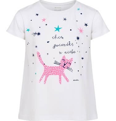 Endo - Piżama z krótkim rękawem dla dziewczynki, z kotem i gwiazdkami, biała, 2-8 lat D05V016_1 1