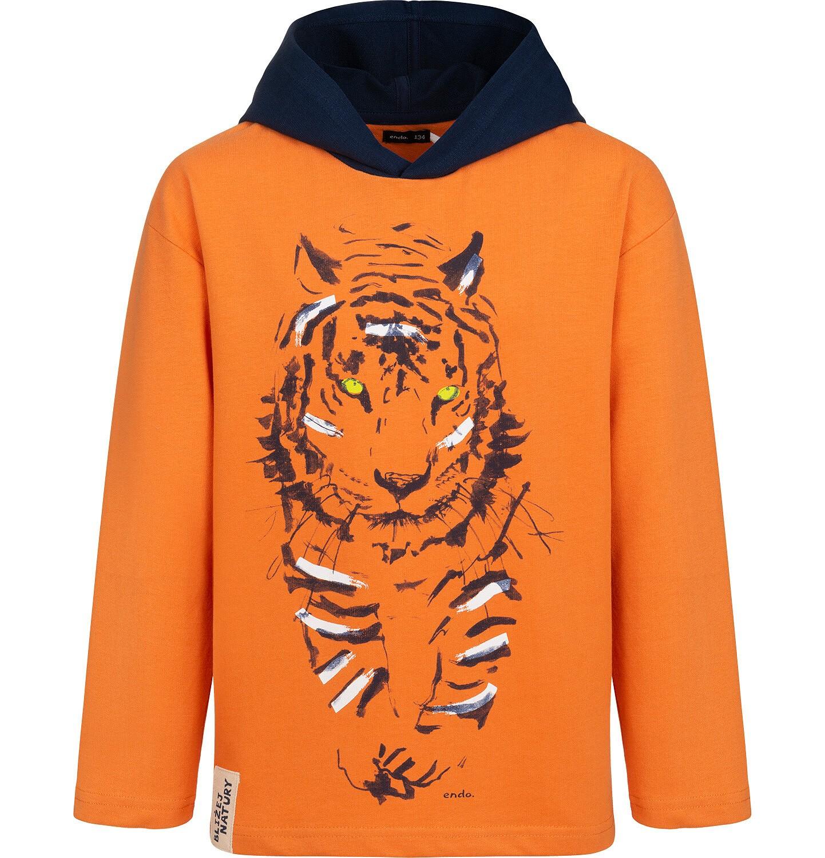 Endo - Bluza z kapturem dla chłopca, z tygrysem, pomarańczowa, 2-8 lat C05C013_1