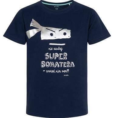 Endo - T-shirt z krótkim rękawem dla chłopca, z superbohaterem, granatowy, 9-13 lat C05G002_2 204