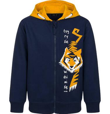 Rozpinana bluza z kontrastowym kapturem dla chłopca, z tygrysem, granatowa, 2-8 lat C03C011_1
