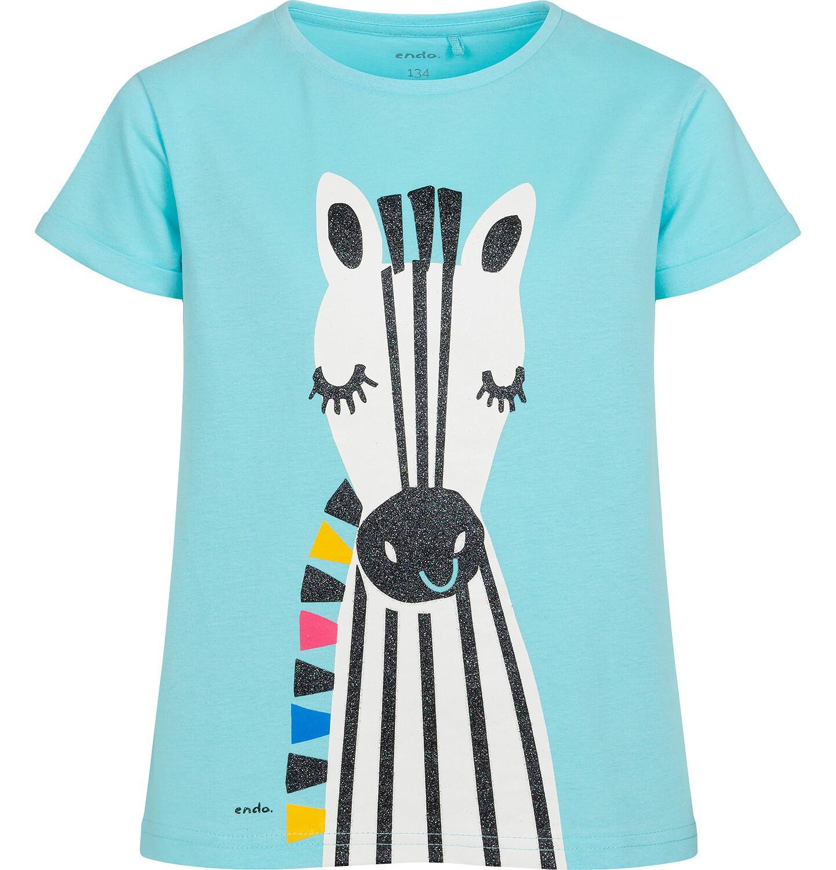 Endo - T shirt z krótkim rękawem dla dziewczynki, z zebrą, niebieski, 9-13 lat D05G176_2
