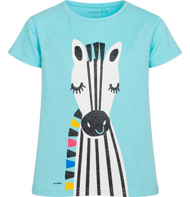 T shirt z krótkim rękawem dla dziewczynki, z zebrą, niebieski, 9-13 lat D05G176_2