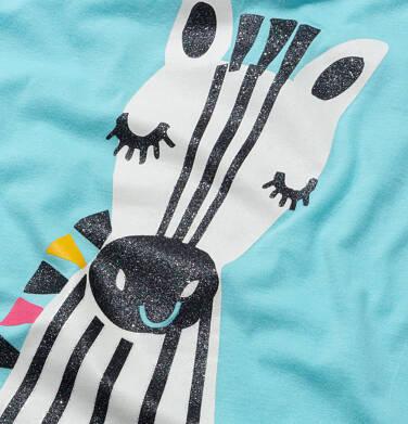 Endo - T shirt z krótkim rękawem dla dziewczynki, z zebrą, niebieski, 9-13 lat D05G176_2 13