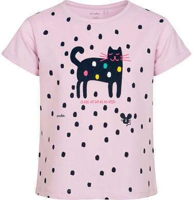Endo - T shirt z krótkim rękawem dla dziewczynki, z kotem, różowy w kropki, 9-13 lat D05G183_1 114