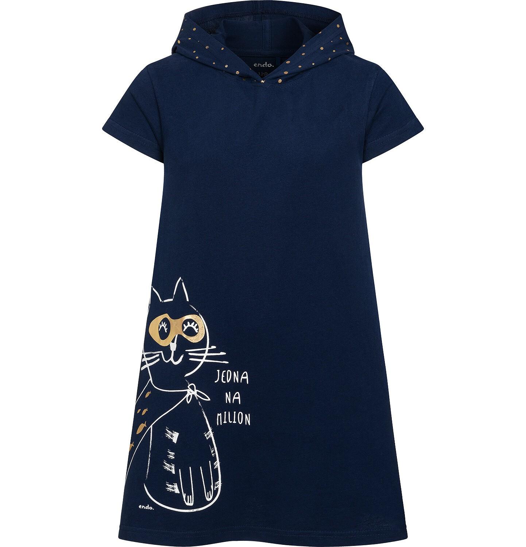 Endo - Sukienka z krótkim rękawem i kapturem, z kotem bohaterem, granatowa, 2-8 lat D05H009_1