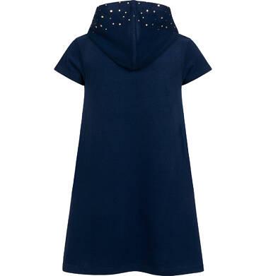 Endo - Sukienka z krótkim rękawem i kapturem, z kotem bohaterem, granatowa, 2-8 lat D05H009_1,3
