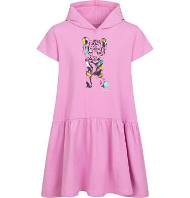 Sukienka z krótkim rękawem i kapturem, z małym tygrysem, różowa, 2-8 lat D05H020_1