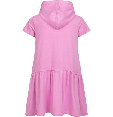 Endo - Sukienka z krótkim rękawem i kapturem, z małym tygrysem, różowa, 2-8 lat D05H020_1,2
