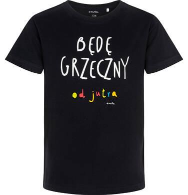 Endo - T-shirt z krótkim rękawem dla chłopca, z napisem będę grzeczny od jutra, czarny, 9-13 lat C06G146_1 96