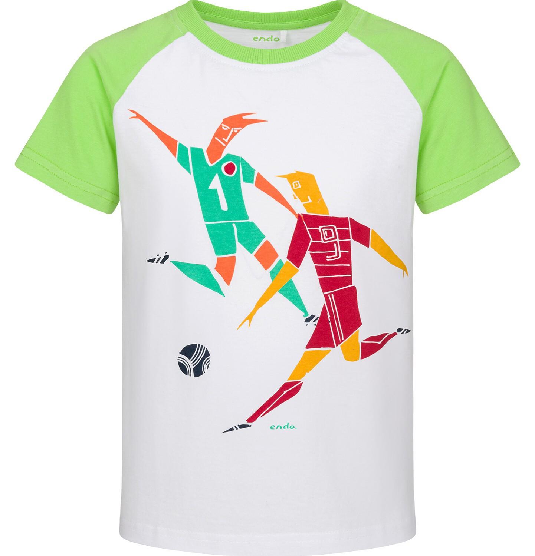 Endo - T-shirt z krótkim rękawem dla chłopca, piłka w grze, biało-zielony, 2-8 lat C03G074_1