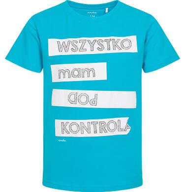 Endo - T-shirt z krótkim rękawem dla chłopca, z napisem wszystko mam pod kontrolą, niebieski 9-13 lat C06G161_1 95