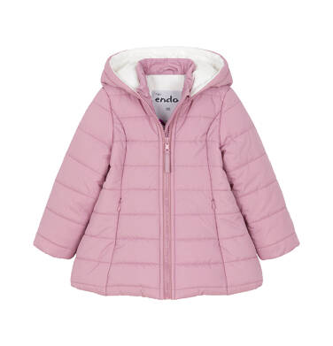 Zimowa kurtka dla małego dziecka, długa, różowa, z futrzanymi uszkami N92A029_1