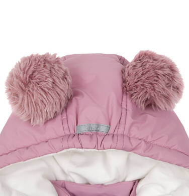 Endo - Zimowa kurtka dla małego dziecka, długa, różowa, z futrzanymi uszkami N92A029_1