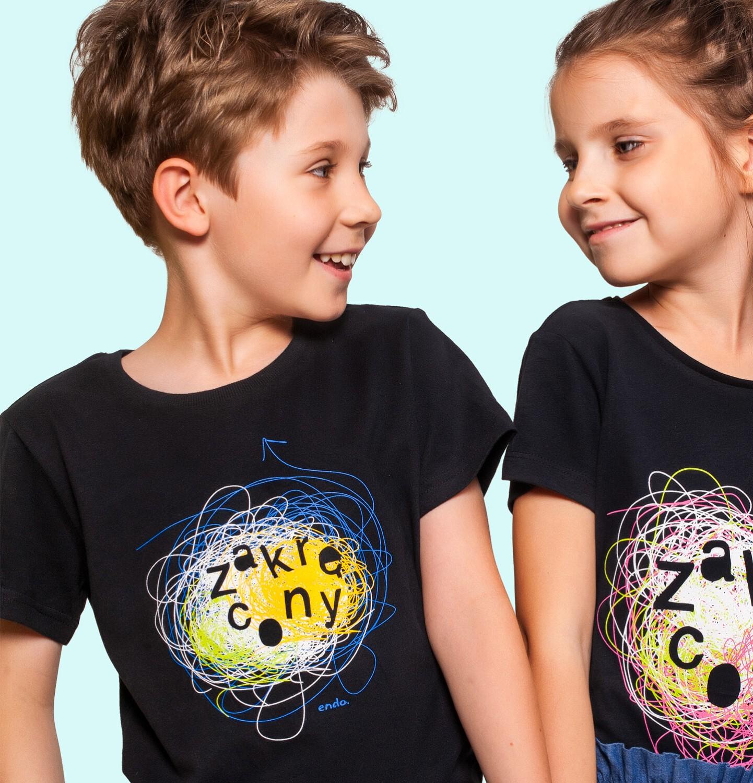 Endo - T-shirt z krótkim rękawem dla chłopca, z napisem zakręcony, czarny, 3-8 lat C06G176_1