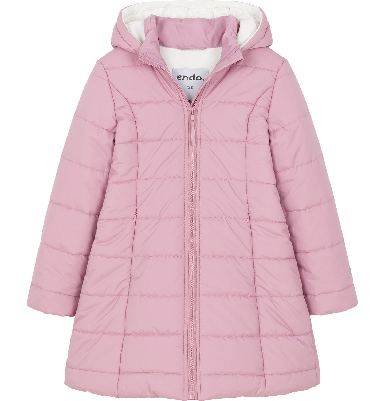 Endo - Zimowa kurtka dla dziewczynki 3-8 lat, długa, różowa, z futrzanymi uszkami, ciepła D92A014_1
