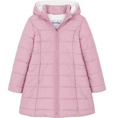 Endo - Zimowa kurtka dla dziewczynki 3-8 lat, długa, różowa, z futrzanymi uszkami D92A014_1