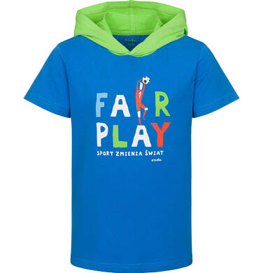Endo - T-shirt z krótkim rękawem dla chłopca, z kontrastowym kapturem, fair-play, niebieski, 2-8 lat C03G079_1 27