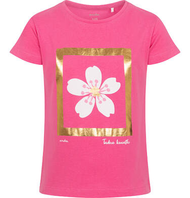 Endo - T-shirt z krótkim rękawem dla dziewczynki, z kwiatem, złote wykończenie, różowy, 2-8 lat D06G001_1 28