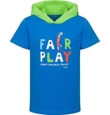 Endo - T-shirt z krótkim rękawem dla chłopca, z kontrastowym kapturem, fair-play, niebieski, 9-13 lat C03G579_1 28