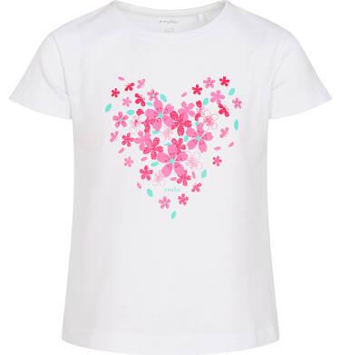 Endo - T-shirt z krótkim rękawem dla dziewczynki, z sercem, biały, 2-8 lat D06G004_1 23