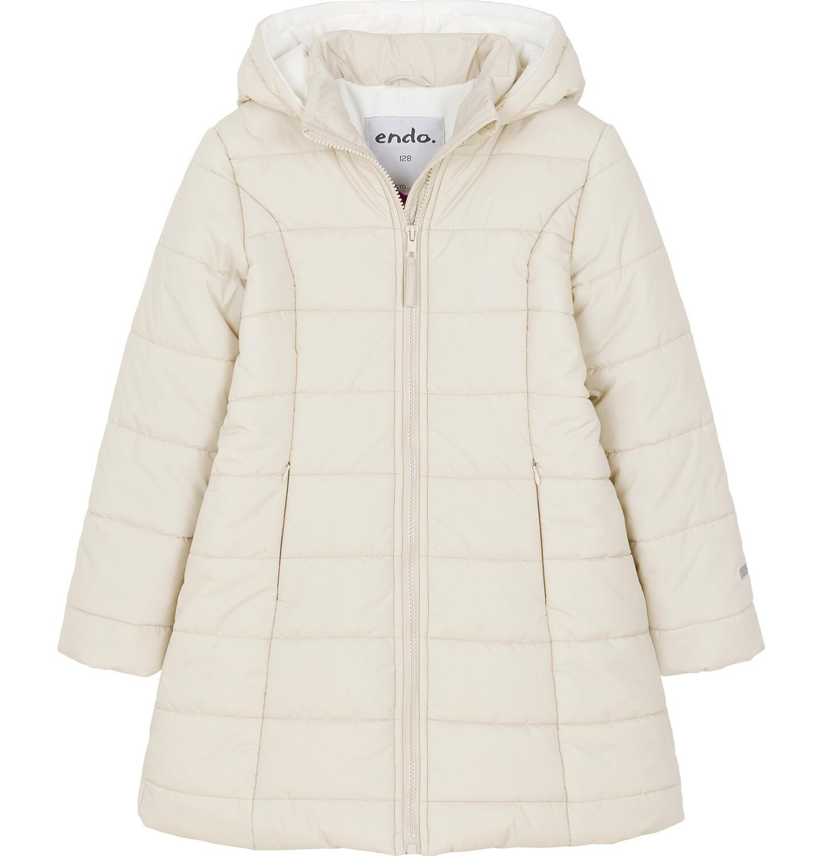 Endo - Zimowa kurtka dla dziewczynki 3-8 lat, długa, beżowa, z futrzanymi uszkami, ciepła D92A014_2