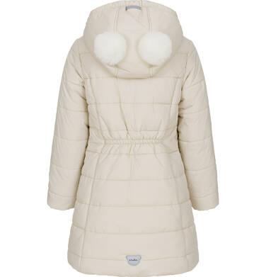 Endo - Zimowa kurtka dla dziewczynki 3-8 lat, długa, beżowa, z futrzanymi uszkami, ciepła D92A014_2 9
